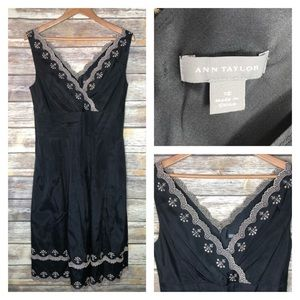 Ann Taylor black silk v-neck dress lace embroidery